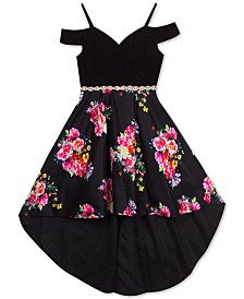 Rare Editions Big Girls Cold-Shoulder High-Low Dress