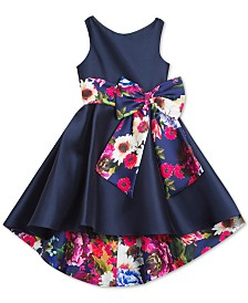 Rare Editions Little Girls Printed-Bow High-Low Dress