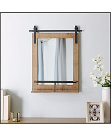 "25"" x 20"" Ingram Barn Door Mirror with Shelf"