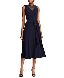 Lauren Ralph Lauren Mesh-Yoke Belted Jersey Dress