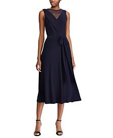 Lauren Ralph Lauren Mesh-Yoke Belted Jersey Dress