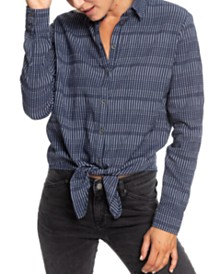 Roxy Juniors' Suburb Vibes Tie-Front Shirt