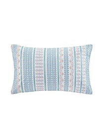 "Design Bukhara 12"" x 20"" Embroidered Cotton Oblong Decorative Pillow"
