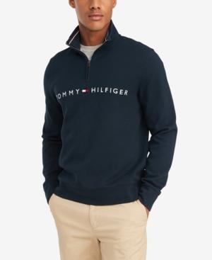 Tommy Hilfiger Men's Big & Tall Will Regular-Fit French Rib Quarter-Zip Logo Sweater