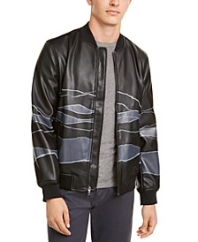 Men's Faux-Leather Bomber Jacket, Created For Macy's