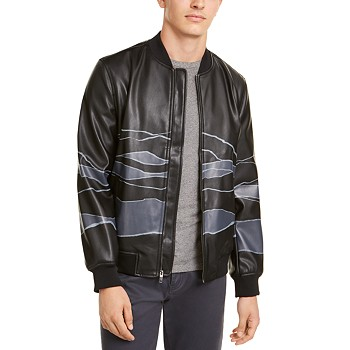Alfani Men's Faux-Leather Bomber Jacket