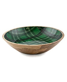 CLOSEOUT! 4 Qt Wood & Enamel Bowl with Green Plaid Decal