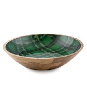 Closeout! Thirstystone 4 Qt Wood & Enamel Bowl with Green Plaid Decal