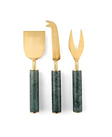 CLOSEOUT! 3-piece Marble Handle Cheese Knife Set with Gold Heads