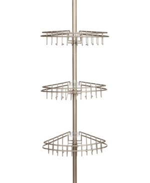 Kenney 3-Tier Stainless Steel Spring Tension Shower Caddy Bedding