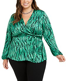 INC Plus Size Animal-Print Wrap Top, Created for Macy's