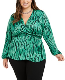 I.N.C. Plus Size Animal-Print Wrap Top, Created for Macy's