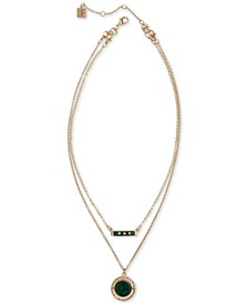 "Gold-Tone Resin Layered Bar & Pendant Necklace, 16"" & 18"" + 2"" Extender"