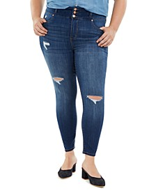 Trendy Plus Size Triple Button Ripped Skinny Jean