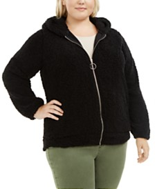 Planet Gold Trendy Plus Size Hooded Fleece Jacket