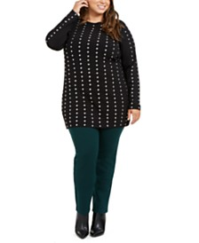 I.N.C. Plus Size Studded Tunic Sweater, Created for Macy's