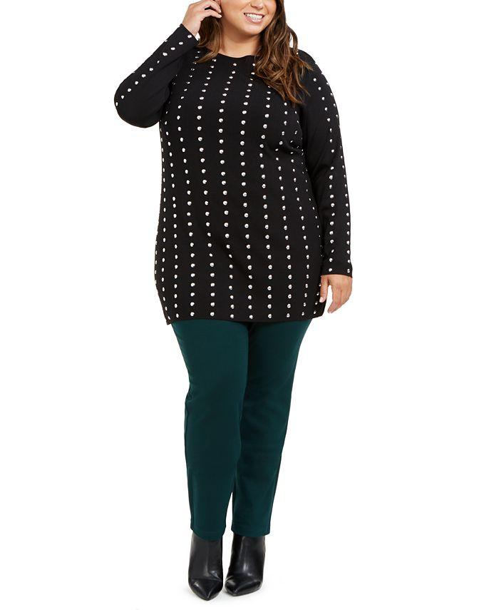 INC International Concepts - Plus Size Studded Tunic Sweater