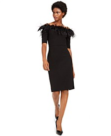 Off-The-Shoulder Faux-Feather Dress