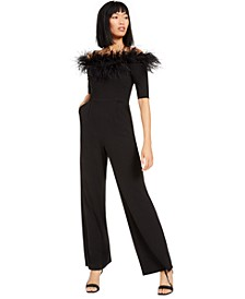 Off-The-Shoulder Feather Jumpsuit