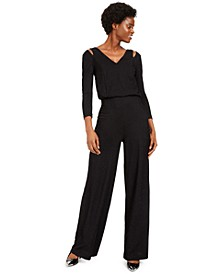 V-Neck Split-Shoulder Jumpsuit