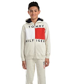 Big Boys Andrew Colorblocked Full-Zip Fleece Logo Hoodie