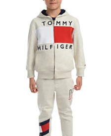 Tommy Hilfiger Little Boys Andrew Colorblocked Full-Zip Fleece Logo Hoodie