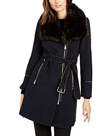 INC Asymmetrical Plaid Faux-Fur-Collar Coat, Created for Macy's