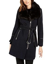 INC Asymmetrical Plaid Faux-Fur-Collar Coat, Created for Macy's
