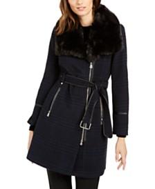 I.N.C. Asymmetrical Plaid Faux-Fur-Collar Coat, Created for Macy's