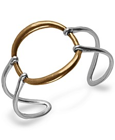Two-Tone Openwork Circle Cuff Bracelet