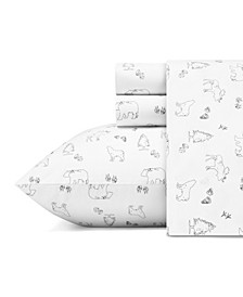 Animal Tracks Cotton Sheet Set, Twin
