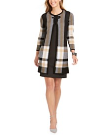 Kasper Plaid Buckle-Front Topper Jacket