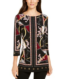 JM Collection Printed Grommet-Hem Tunic, Created for Macy's