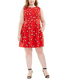 Plus Size Chatterly Rose Printed Fit & Flare Dress
