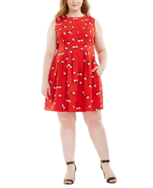 Plus Size Chatterly Rose Printed Fit & Flare Dress in Pinot/Anne White Combo