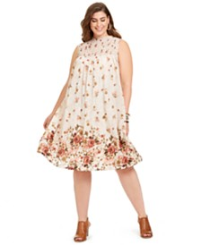 Style & Co Plus Size Smocked Printed Shift Dress, Created for Macy's