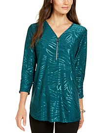 Zipper-Trim Metallic-Print Top, Created for Macy's