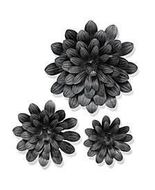 Galvanized Flower Power Metal Art - Set of 3