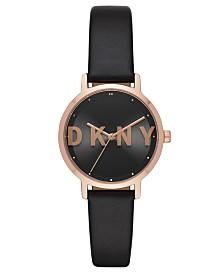 DKNY Women's Modernist Black Leather Strap Watch 32mm
