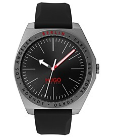 Men's #Act Black Silicone Strap Watch 44mm