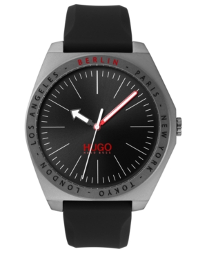 Hugo Men's #Act Black Silicone Strap Watch 44mm