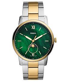 Fossil Men's Minimalist Two-Tone Stainless Steel Bracelet Watch 44mm