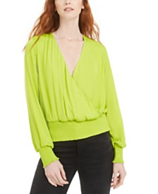 Bar III Smocked Surplice Top, Created for Macy's