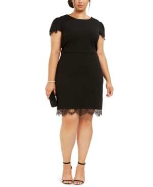 Plus Size Embellished Lace-Trim Dress in Onyx