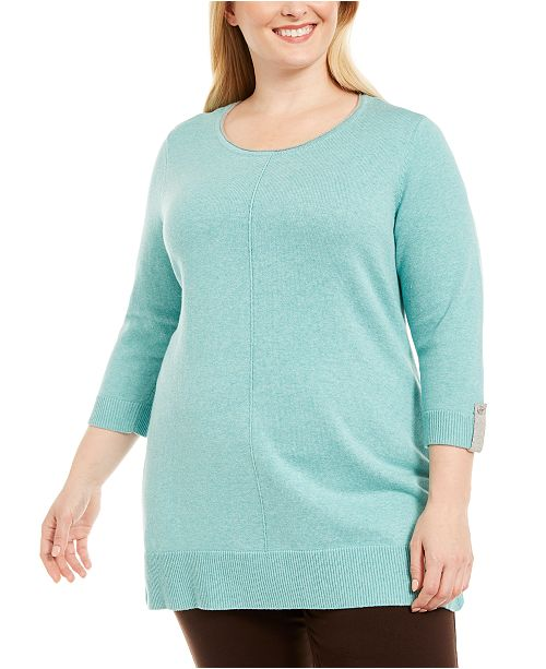 Karen Scott Plus Size Cotton Roll-Neck Sweater, Created for Macy's