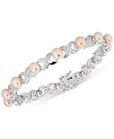 "Cultured Freshwater Pearl (5mm) ""XO"" Bangle Bracelet in Sterling Silver"