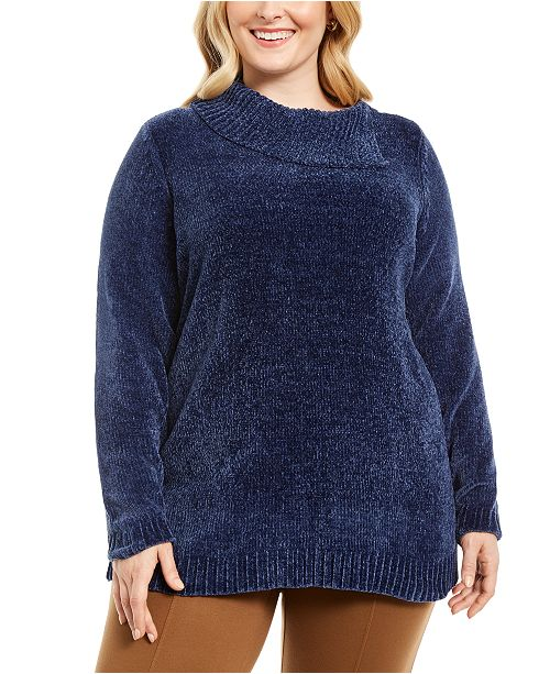 Karen Scott Plus Size Chenille Split Neck Pullover, Created For Macy's