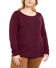 Plus Size Stripe Textured Sweater, Created for Macy's