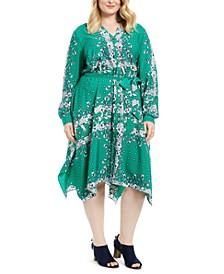 Plus Size Mixed-Print Handkerchief-Hem Dress, Created for Macy's