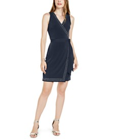 I.N.C. Studded Faux-Wrap Dress, Created for Macy's